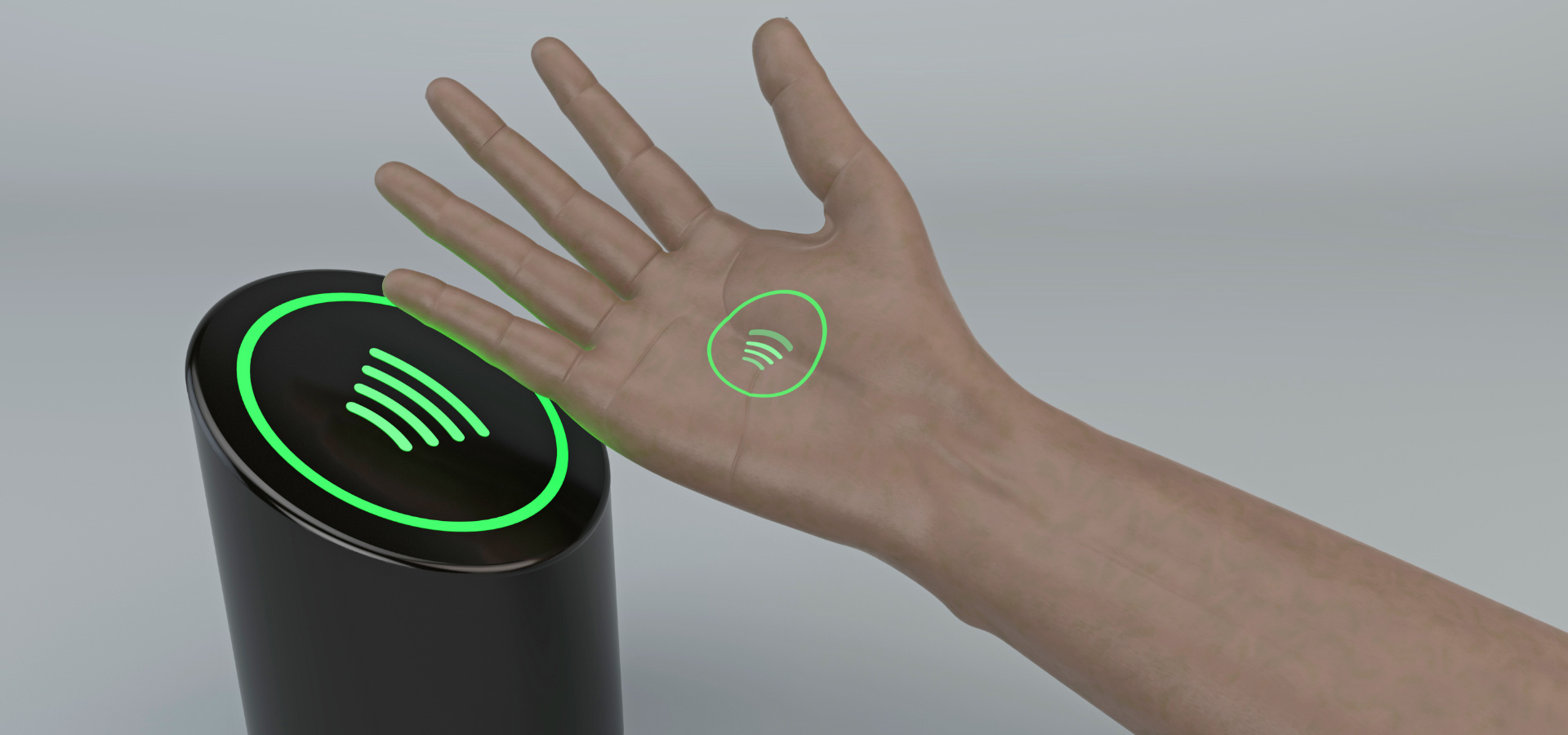 NFC implant in the hand in front of black NFC scanner